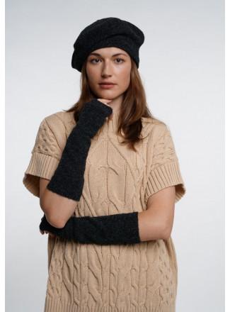 Dark Gray Soft Fingerless Gloves