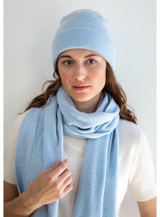 Soft Baby Blue Merino Double-Layer Hat