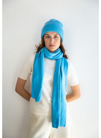 Soft Blue Merino Double-Layer Hat