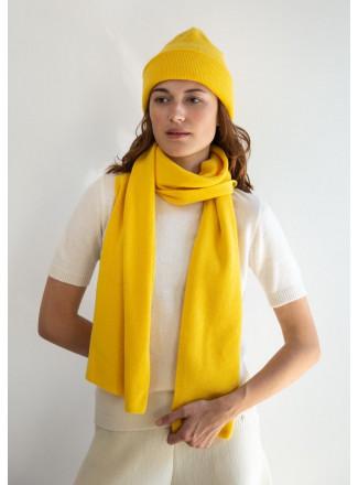 Soft Yellow Merino Double-Layer Hat