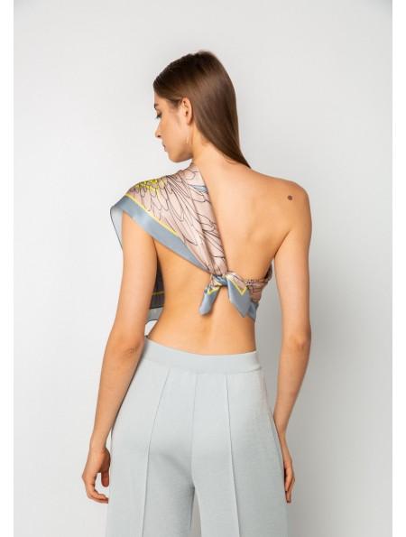 Large Grey Natural Silk Neckerchief