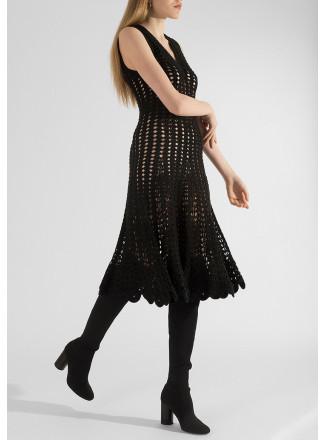 Knitted openwork dress