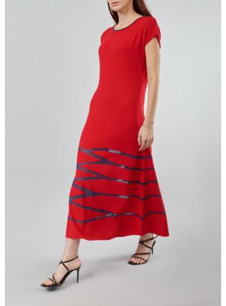 Maxi dress with transparent chiffon
