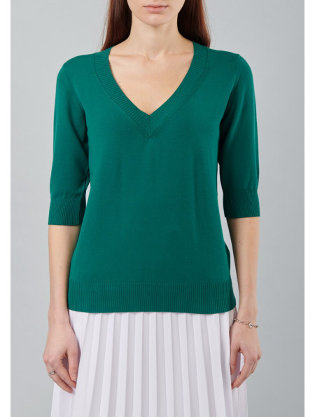 Jumper with cropped sleeve