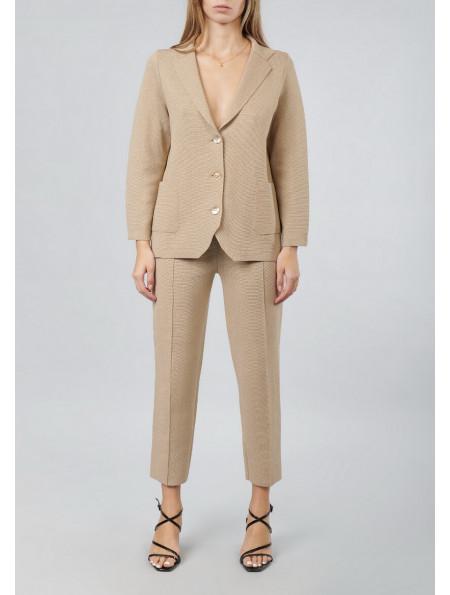 Slim Fit Knitwear Pants With Lurex