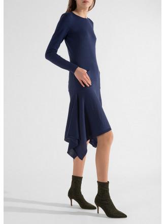 Knit Dress with Asymmetric Hemline