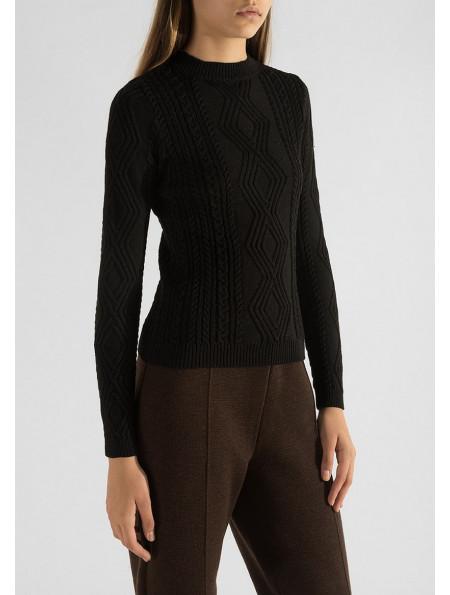 Textured Half Wool Jumper