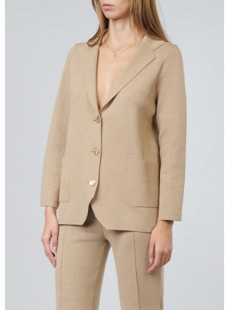 Knitted jacket with lurex