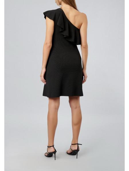 Asymmetrical Neckline Dress With Wide Ruffle