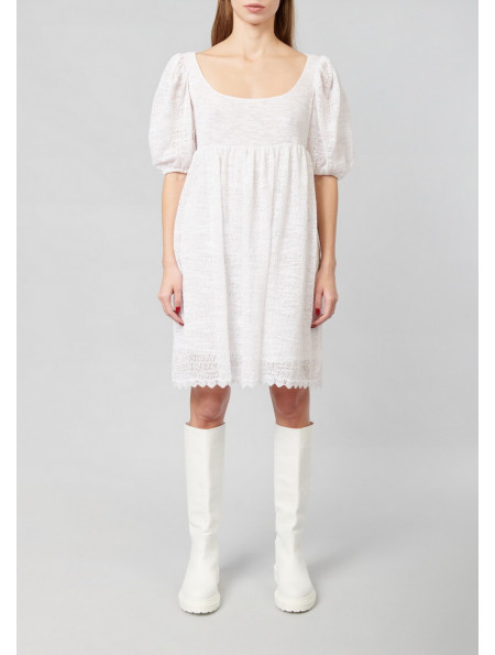 Mini Dress With Puffy Openwork Sleeves