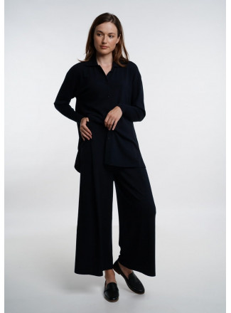 Navy Wide Cropped Trousers