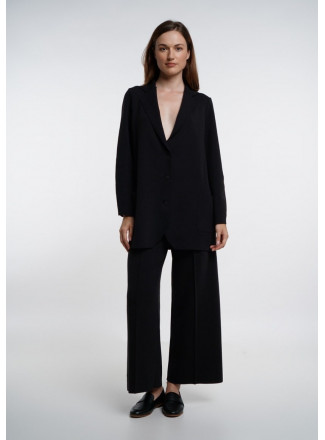 Black Wide Trousers With Seam
