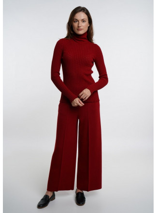 Red Wide Trousers With Seam