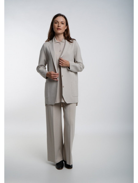 Beige Wide Trousers With Seam