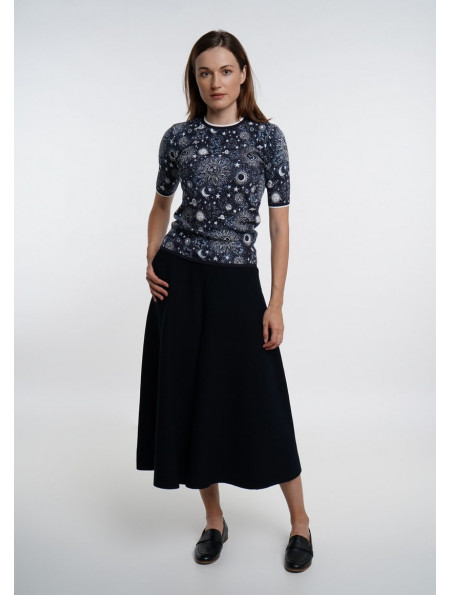 Short-sleeved Jacquard Jumper Blue