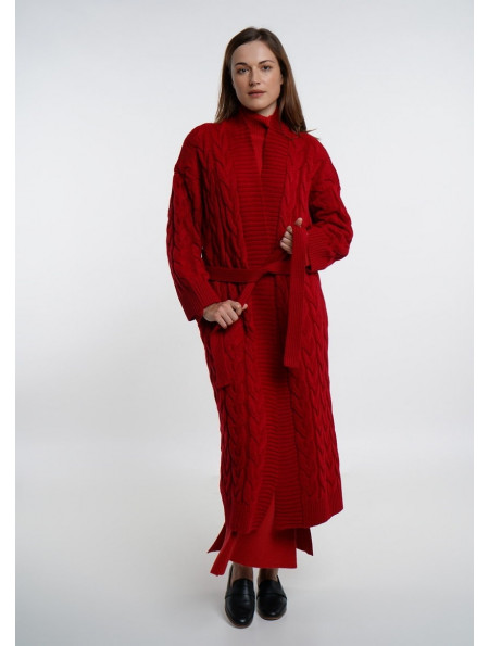 Red Long Cable Coat