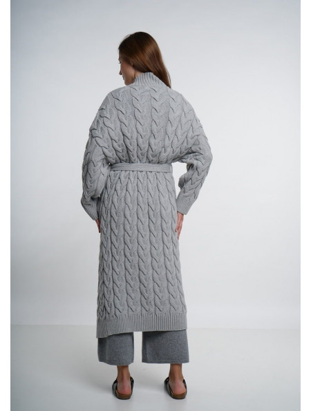 Grey Long Cable Coat