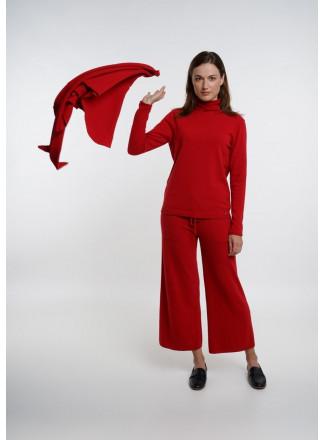 Red Funnel Neckline Jumper