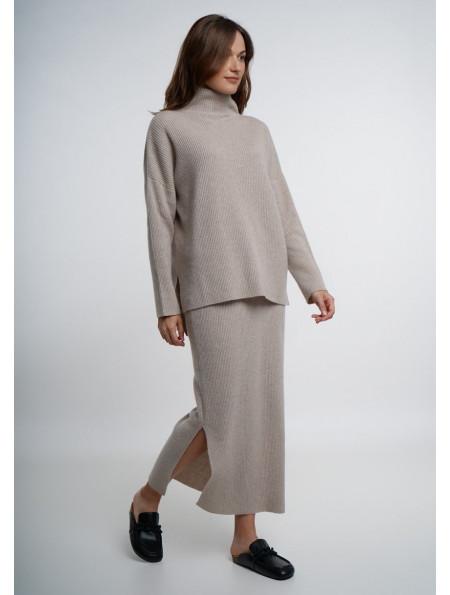 Beige Fine Ribbed Maxi Skirt