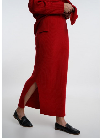 Red Fine Ribbed Maxi Skirt