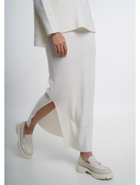 Off-White Fine Ribbed Maxi Skirt