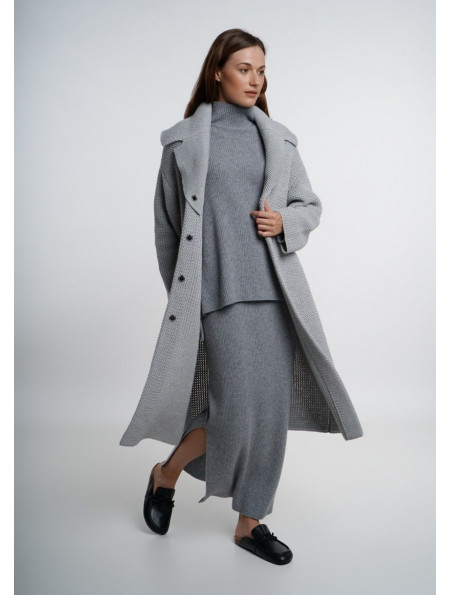 Grey Fine Ribbed Maxi Skirt